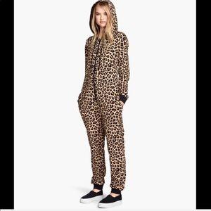 Cheetah print hooded onesie